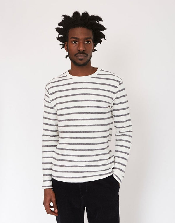 The Idle Man - Reverse Loopback Breton Stripe T-Shirt White
