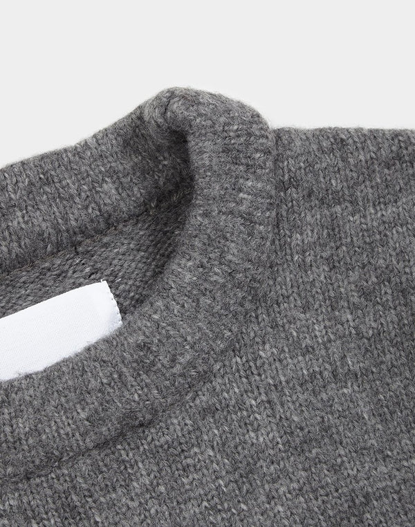 The Idle Man Rib Knit Jumper Grey