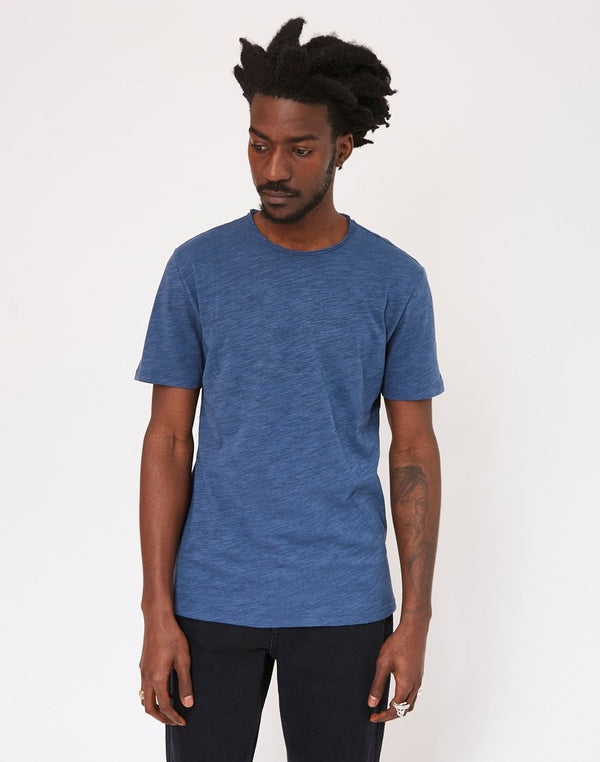 The Idle Man - Rolled Neck Slub T-Shirt Blue
