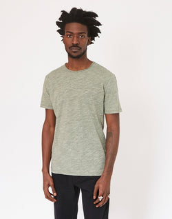 The Idle Man - Rolled Neck Slub T-Shirt Green