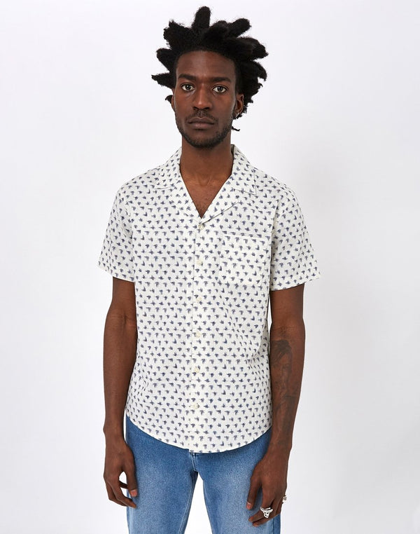 The Idle Man - Scribble Slub Revere Collar Shirt Off White