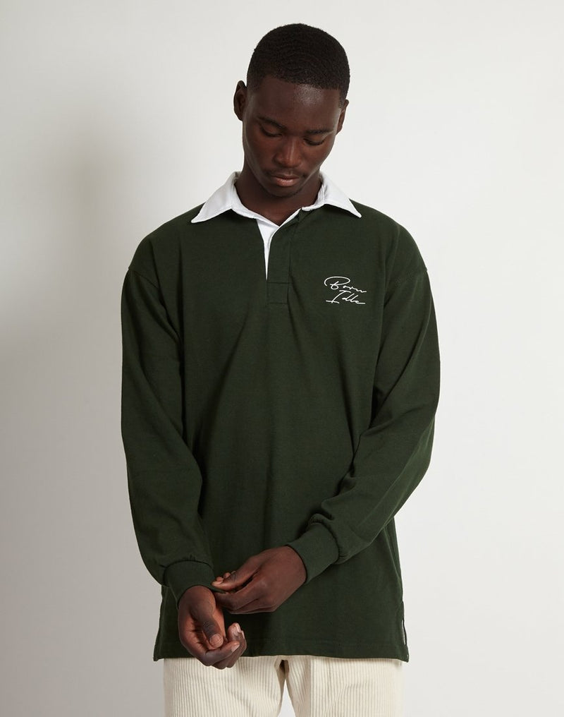 The Idle Man - Signature Embroidered Rugby Shirt Bottle Green