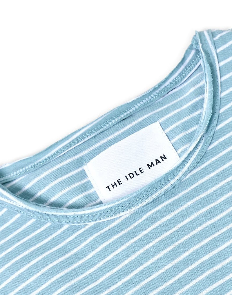 The Idle Man - Slim Fit Striped T-Shirt Blue