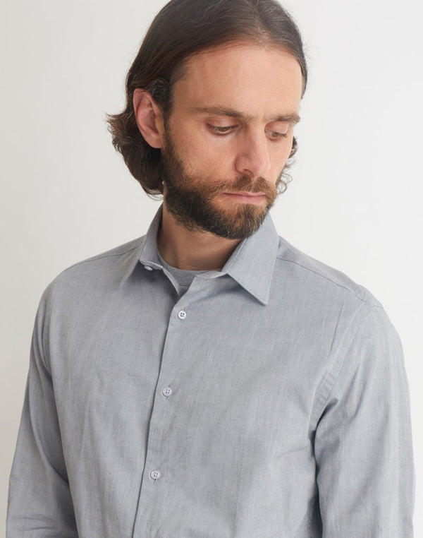 The Idle Man - Smart Regular Oxford Shirt Grey