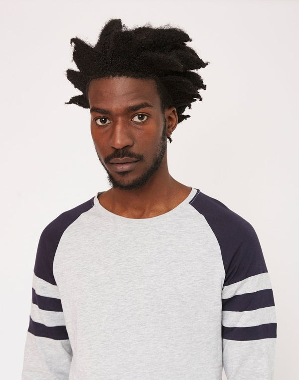The Idle Man - Stripe Sleeve Raglan T-Shirt Grey