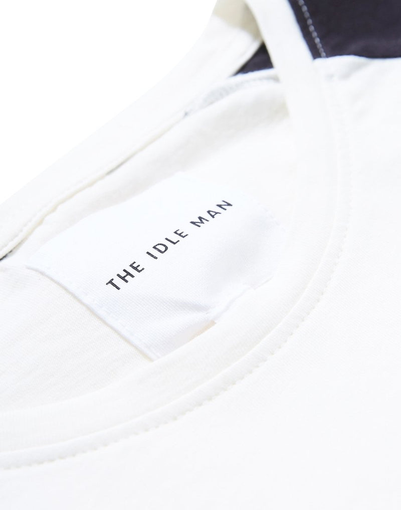 The Idle Man - Stripe Sleeve Raglan T-Shirt White