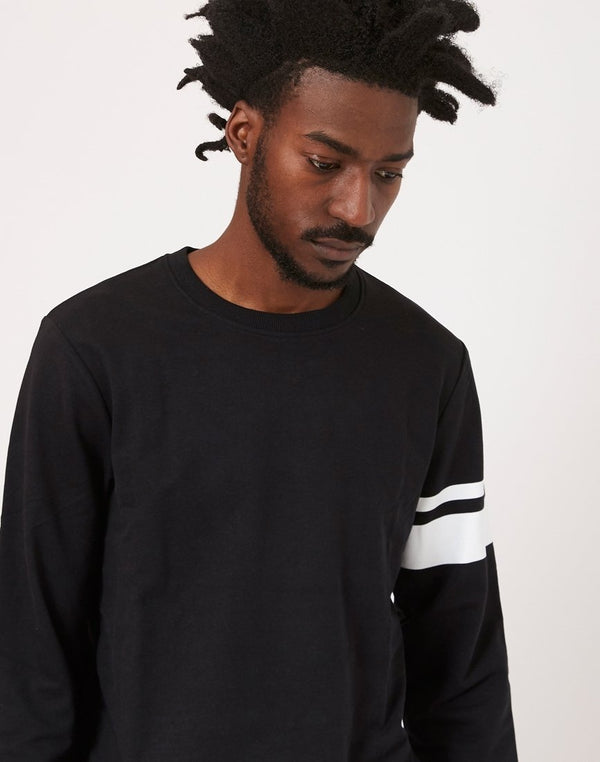 The Idle Man - Stripe Sleeve Sweatshirt Black