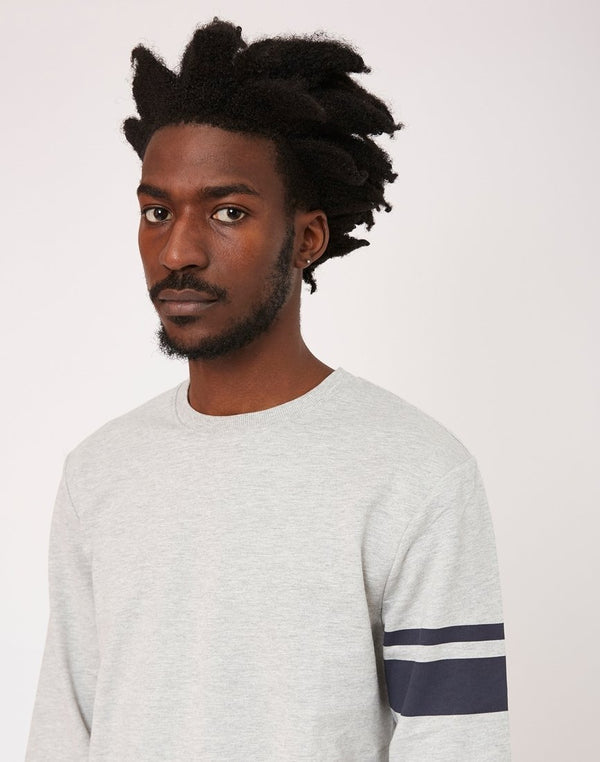 The Idle Man - Stripe Sleeve Sweatshirt Grey
