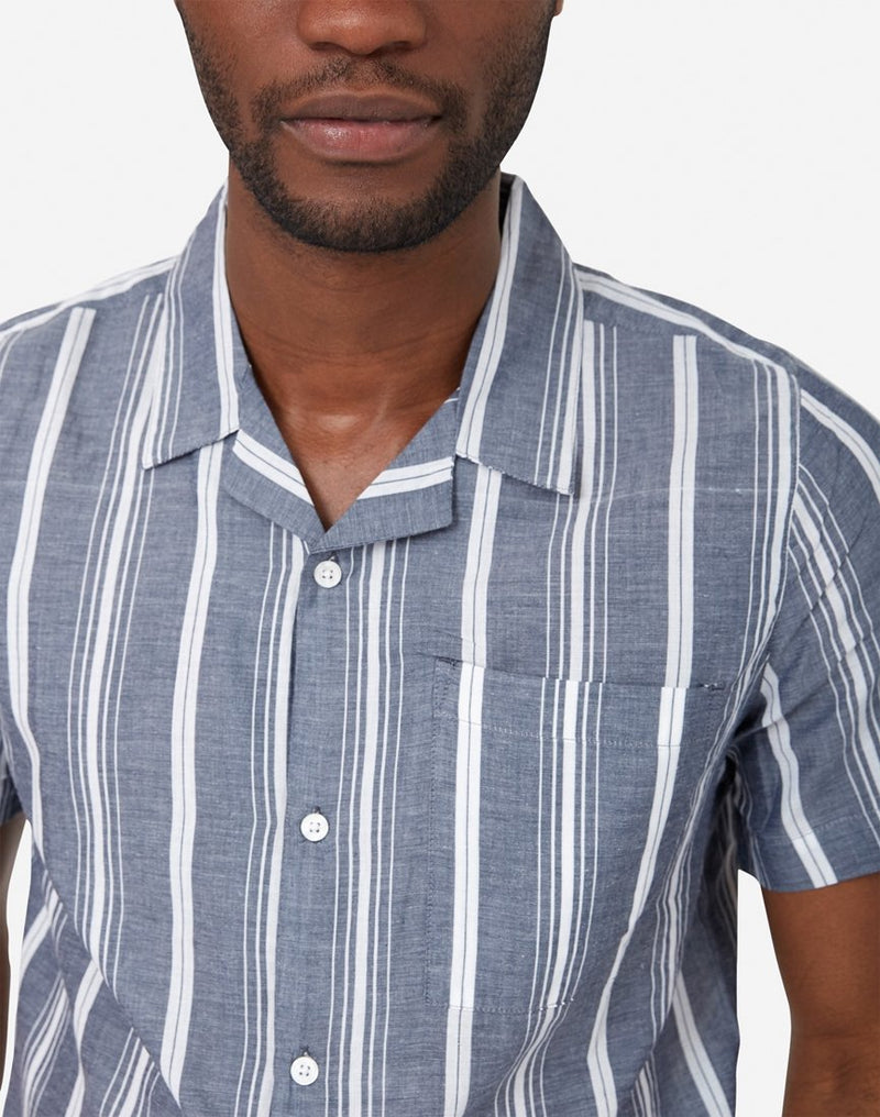 The Idle Man - Striped Revere Collar Shirt Navy