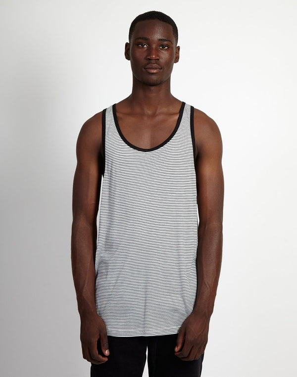 The Idle Man - Striped Vest Black