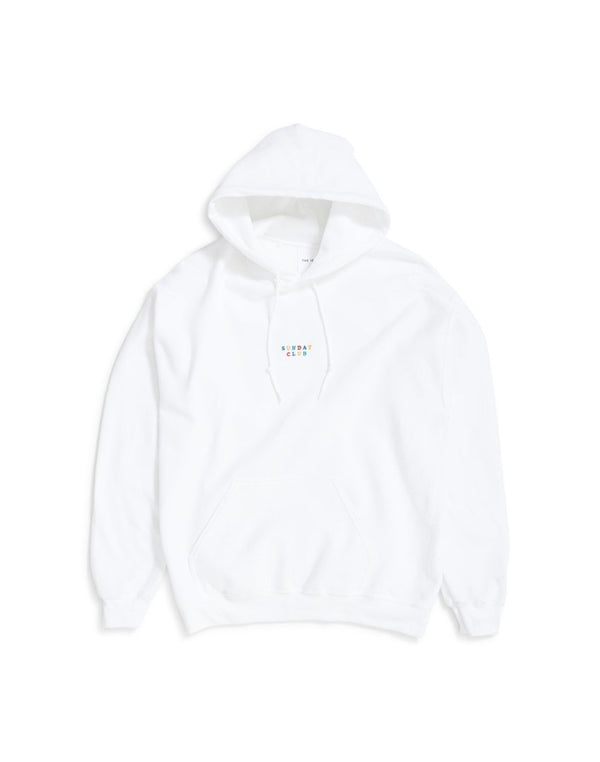 The Idle Man - Sunday Club Embroidered Over Head Hoodie White