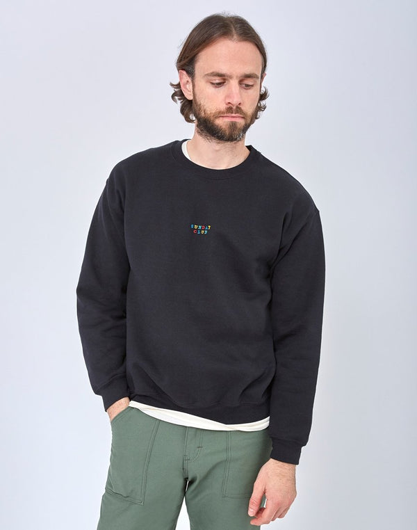 The Idle Man - Sunday Club Embroidery Sweatshirt Black