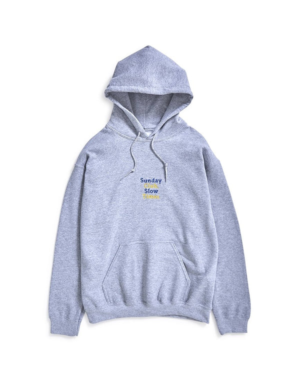 The Idle Man - Sunday Club Slow Times Embroidery Hoodie Grey
