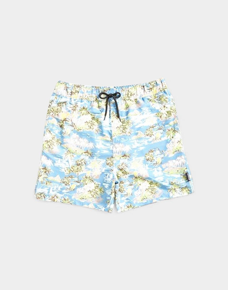 The Idle Man - Island Print Swim Shorts Blue