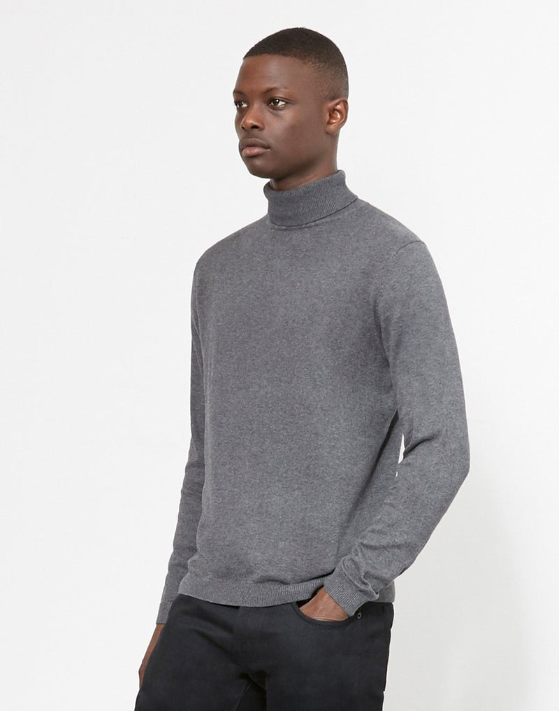 The Idle Man - Turtle Neck Jumper Grey