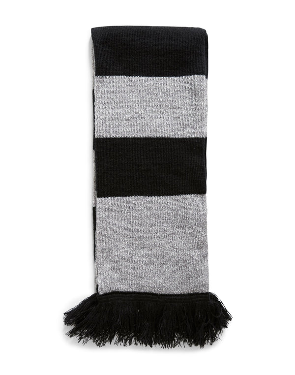 The Idle Man - Varsity Stripe Scarf Black & Grey