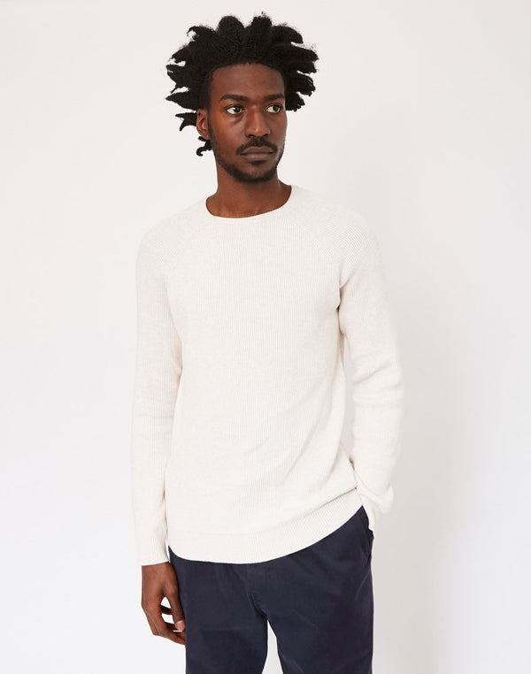 The Idle Man - Vertical Rib Raglan Jumper Off White