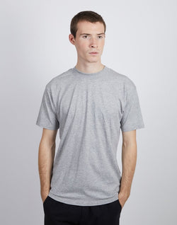 The Idle Man - Wide Collar Relaxed Fit T-shirt Grey Marl
