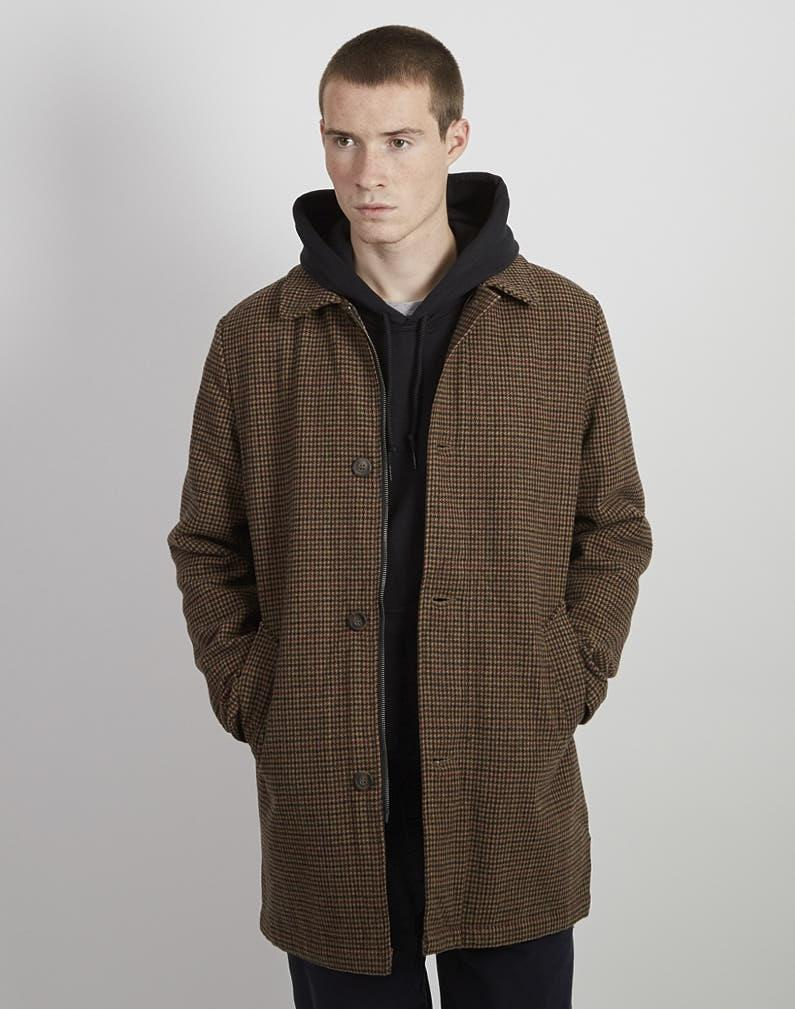 The Idle Man - Wool Houndstooth Check Overcoat Brown