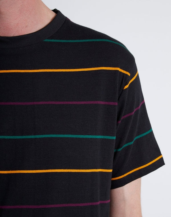 The Idle Man -Yarn Dyed Multi Stripe T-Shirt Black