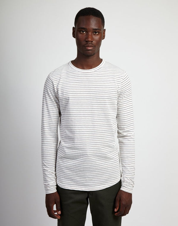 The Idle Man - Yarn Dyed Stripe Long Sleeve T-Shirt White