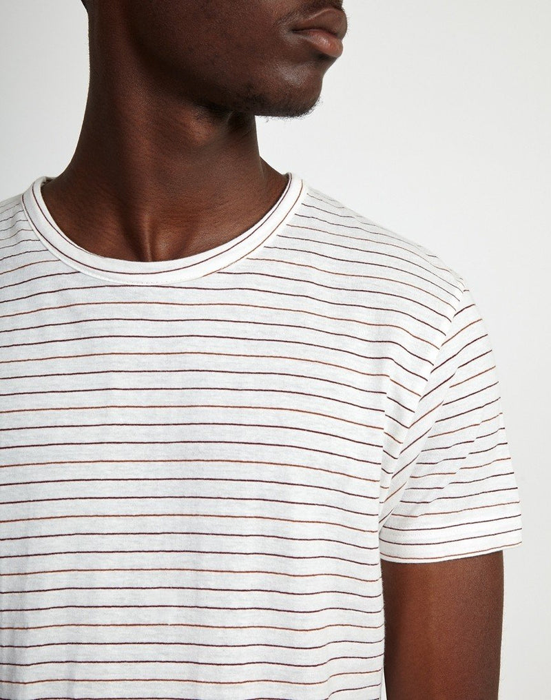 The Idle Man -Yarn Dyed Stripe T-Shirt White