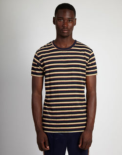 The Idle Man -Yarn Dyed Striped T-Shirt Navy