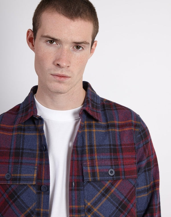 The Idle Man - Four Pocket Brushed Check Overshirt  Herringbone
