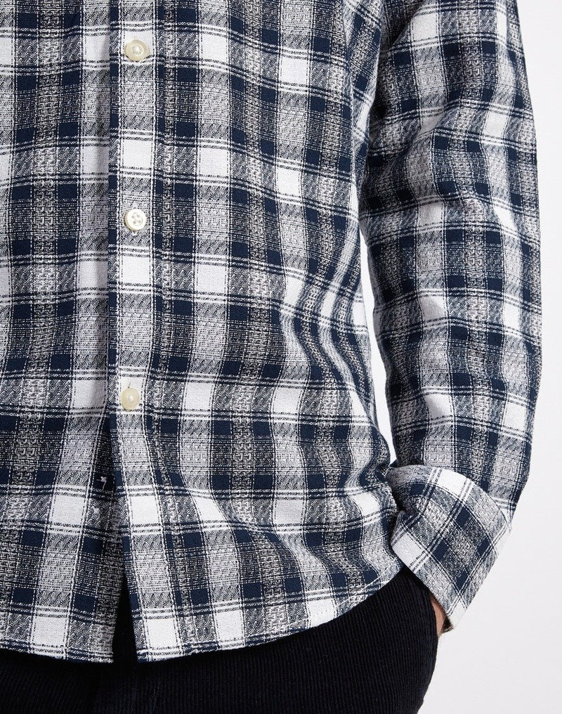 The Idle Man - Dobby Check Shirt Navy & White
