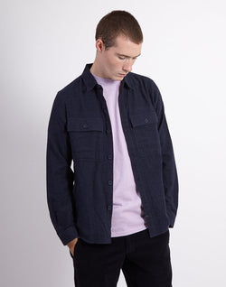 The Idle Man - Four Pocket Brushed Over Shirt Navy