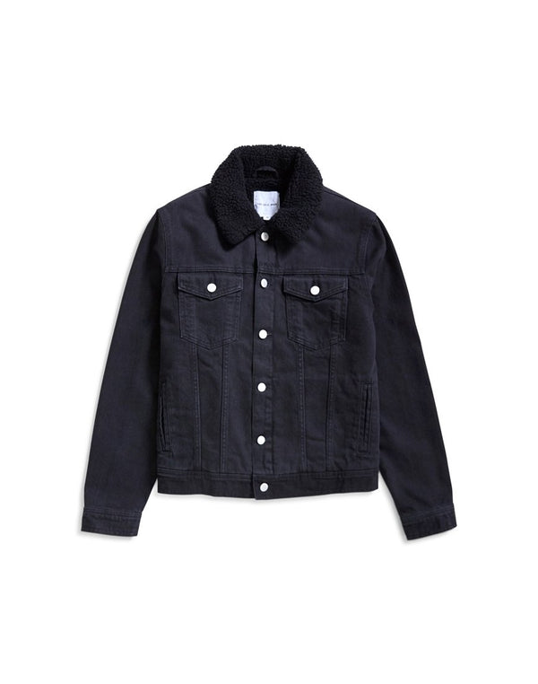 The Idle Man - Borg Lined Denim Western Jacket Black