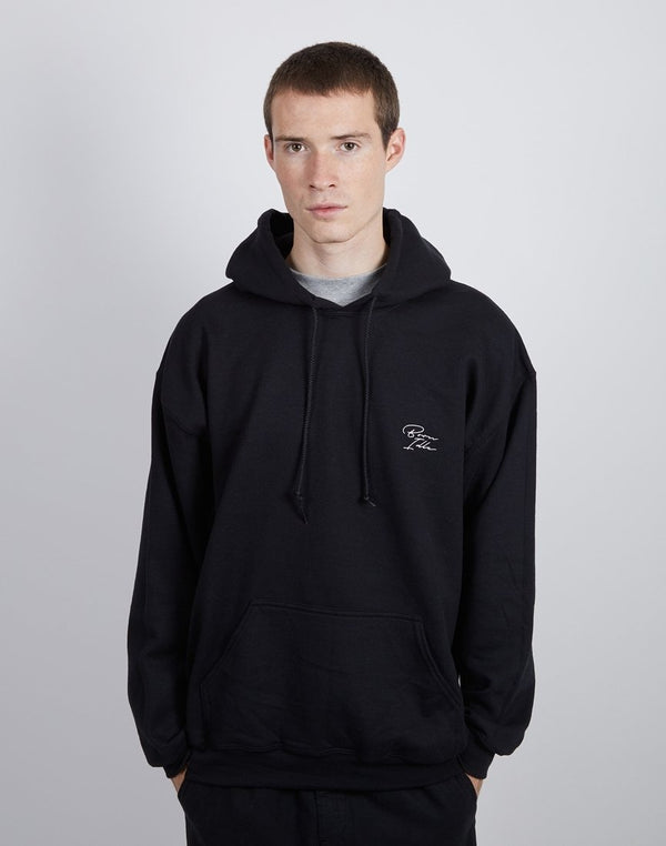 The Idle Man - Born Idle Chest Signature Black Hoodie (white signature)