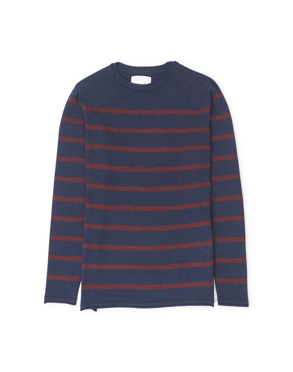 The Idle Man - Breton Stripe Jumper Navy & Burgundy