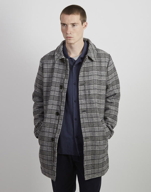 The Idle Man - Checked Wool Overcoat Grey