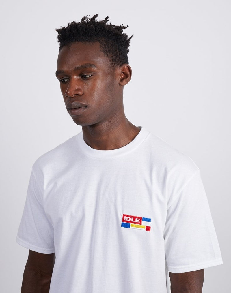 The Idle Man - Compu Flag Chest Embroidered T-Shirt White