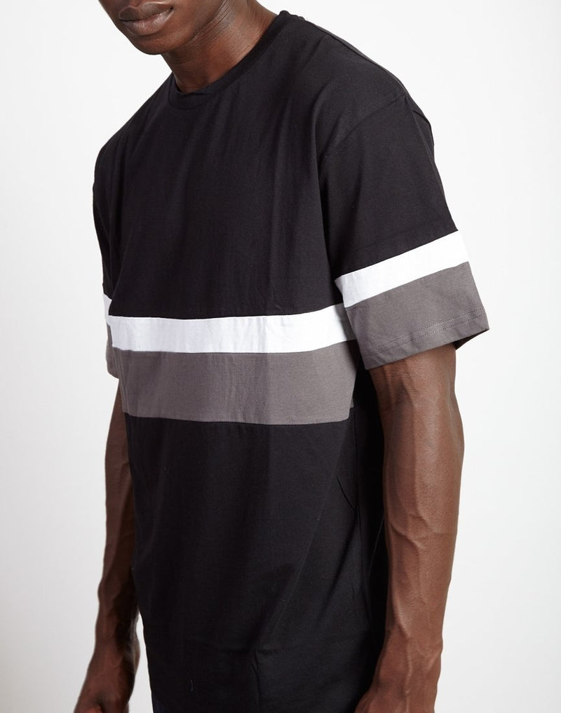 The Idle Man - Contrast Stripe T-Shirt Black & Grey
