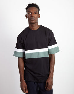 The Idle Man - Contrast Stripe T-Shirt Black & Teal