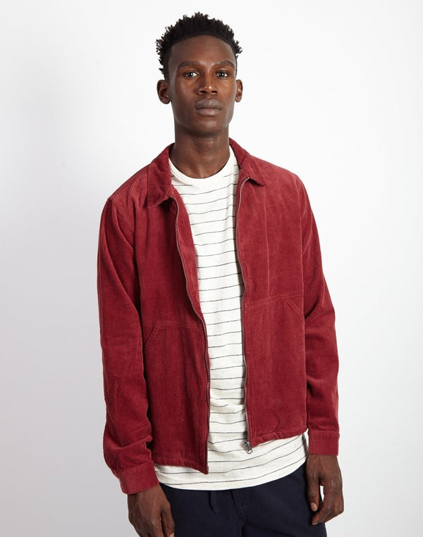 The Idle Man - Corduroy Zip Jacket Burgundy