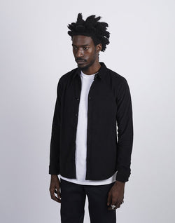 The Idle Man - Fine Corduroy Shirt Black
