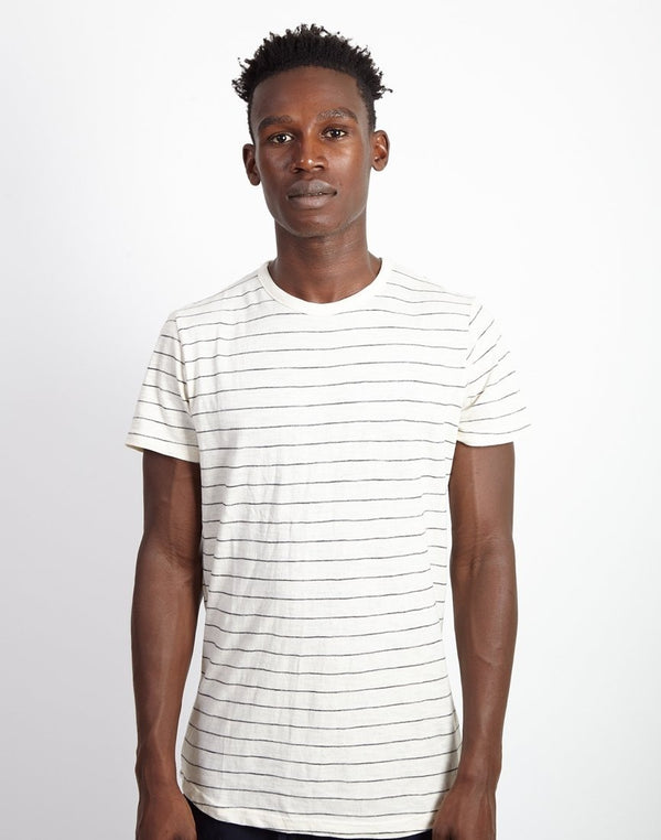 The Idle Man - Fine Stripe T-Shirt White