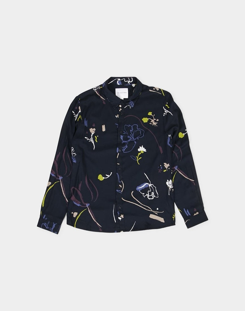 The Idle Man - Floral Viscose Shirt Navy