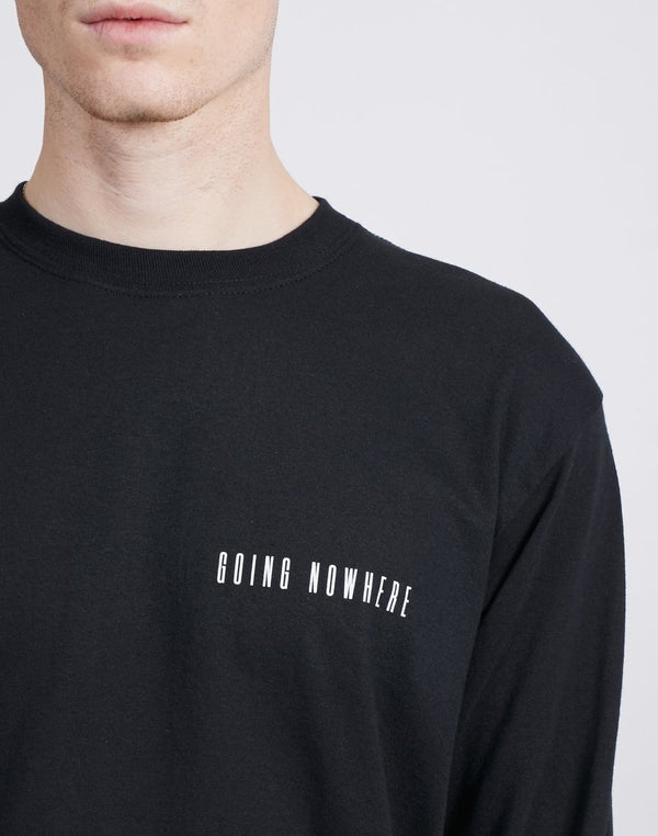 The Idle Man -Going Nowhere Chest Print Long Sleeve T-Shirt Black