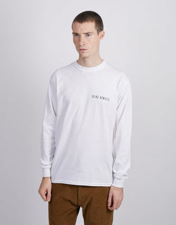 The Idle Man -Going Nowhere Chest Print Long Sleeve T-Shirt White