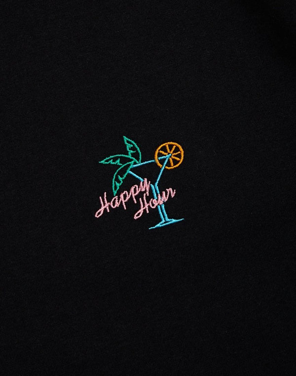 The Idle Man -Happy Hour Chest Embroidered T-Shirt Black