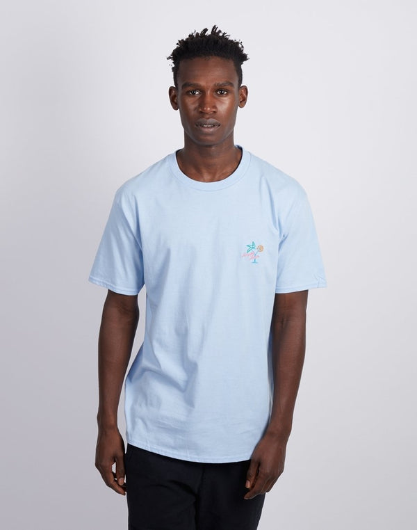 The Idle Man -Happy hour Chest Embroidered T-Shirt Light Blue