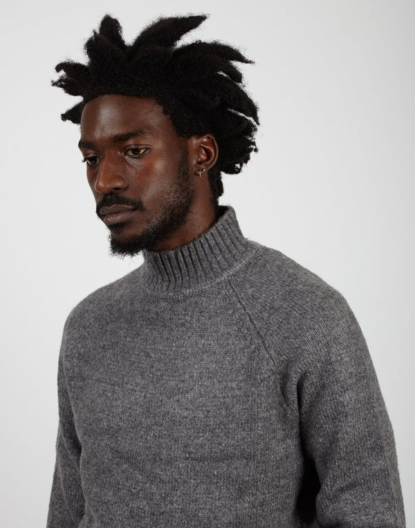 The Idle Man High Neck Knit Jumper Grey