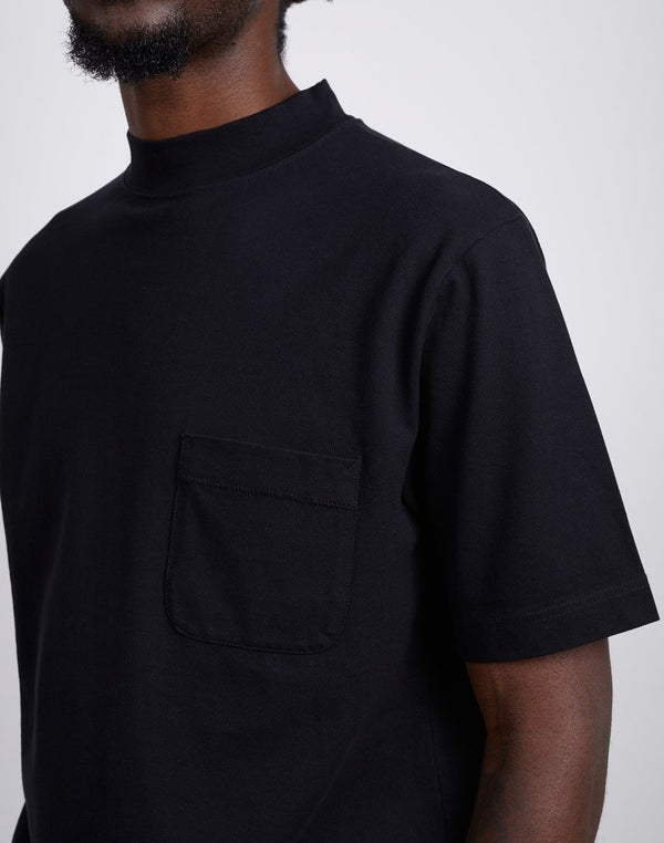 The Idle Man -High Neck Pique Black