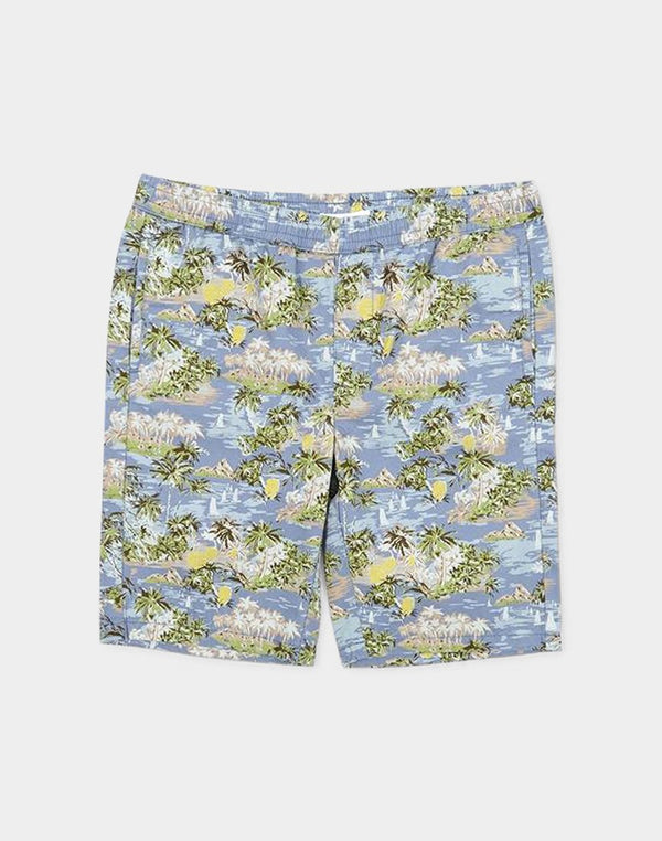 The Idle Man - Island Print Shorts Blue