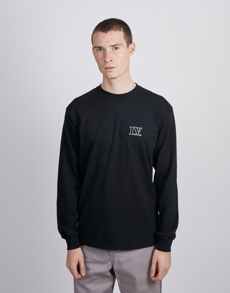 The Idle Man - IV Pec Print Long Sleeve T-Shirt Black