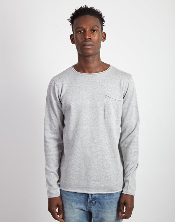 The Idle Man Light Gauge Jumper Grey